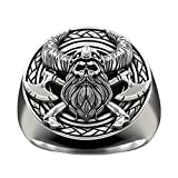 Viking Skull Ring for Men, Viking Warrior Ring, Crossed Axe Skull Head Ring, Vintage Gladiator Helmet Skull Ring, Nordic Warriors Skull Tribal Amulet Ring, Punk Skull Jewelry Gift (Silver, 8)