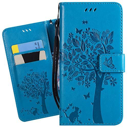 Ougger Funda para Huawei P30 Carcasa, PU Piel Tapa Billetera Cuero Magnética Cover Protector Suave TPU Silicona Carcasa para Huawei P30 con Tarjeteros, Gato y árbol (Azul)