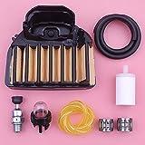 Línea de filtro de aire y combustible Kit completo de piezas de primera clase para motosierra HUSQVARNA 455 Rancher 460 537255702 Válvula de descompresión con bombilla de imprimación de rodamiento de
