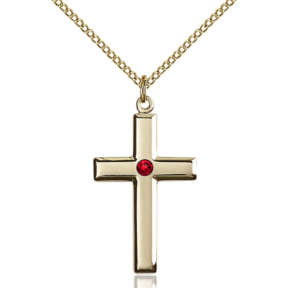 Gold Ranking TOP6 Filled Cross Pendant with 3mm Swarovski price July Crystal 1 Red