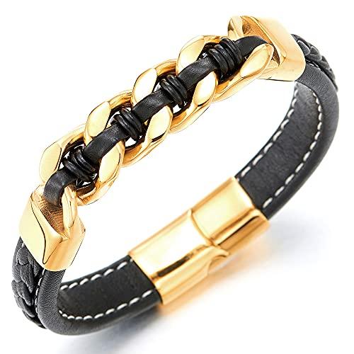 COOLSTEELANDBEYOND Pulsera trenzada de cuero negro para hombre con cadena de acero inoxidable dorada entrelazada con cuero negro.
