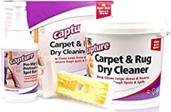 Kit Includes: 4 lb Capture Dry Cleaning Powder, 24oz Soil Release Pre-Mist and Brush Safe for all types of carpets including Wool and Code S fabric, silk, surfaces and material. Spots do not reappear. Re-sealable lid, easy storage container. Absorben...