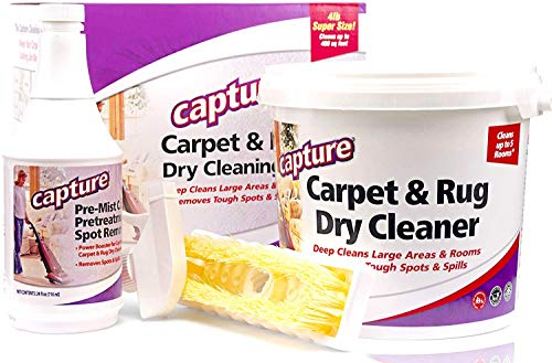 Capture Carpet Dry Cleaning Kit 400- Deodorize Allergens Smell Moisture from Rug Furniture Clothes and Fabric, Mold Pet Stains Odor Smoke and Allergies Too (4 lb)