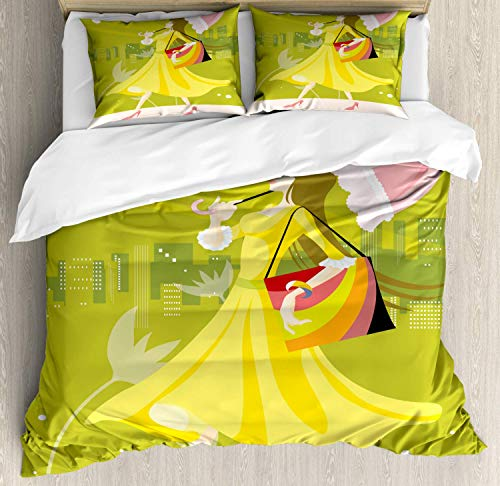 Umbrella Girl Super King Bedding Duvet Cover 3 Piece, Vibrant Composition of an Female Walking, Luxury Soft Bedding Protects Comforter with 1 Comforter Cover And 2 Pillow Case, Yellow Green Multicolor