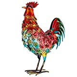 chisheen Rooster Decor for Home Metal Chicken Outdoor Statues for Garden Yard Art Led Rooster Sculptures
