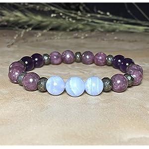 Womens Stress Relieving Beaded Gemstone Bracelet | Lepidolite, Blue Lace Agate Amethyst