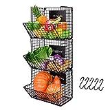 X-cosrack Metal Wire Basket Wall Mount, 3 Tier Wall Storage Basket Organizer with Hanging Hooks Chalkboards, Rustic Kitchen Fruit Produce Bin Rack Bathroom Tower Baskets (Black)