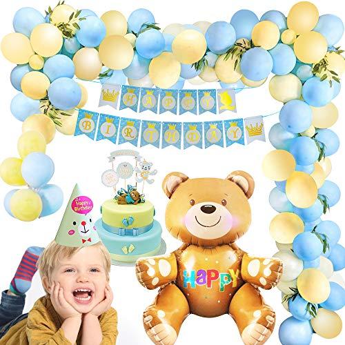 MMTX Geburtstag Dekoration Gelb blau, Kindergeburtstag Deko Mädchen Junge mit Happy Birthday Girlande Bierballon, 40 Stück Latexballon für Kinder Mädchen Junge Babyparty