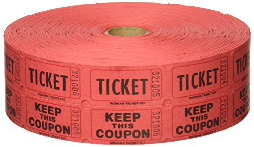 Red Double Raffle Ticket Roll, 2000/roll