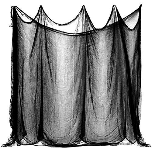 K KUMEED Halloween Deko Stoff für Halloween Party Dekoration, 6 * 2,15m Dekostoff Tuch Decke Horror Halloweenstoff Schwarz für Türen Hallen, Duschvorhänge, Veranden, Decks, Fenster, Tore