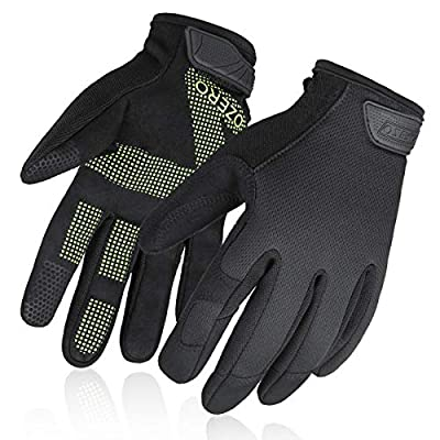 Mechanics Gloves with Touch Screen FingerTips - Improved Dexterity and Extra Grip for Men and Women (Black-Green,Large)
