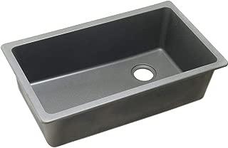 Elkay ELGU13322GS0 Quartz Classic Single Bowl Undermount Sink, Greystone