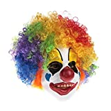 Clown Mask With Colorful Clown Wig Breathability Mouth Visible Eye Circus Joker Smiley Happy Funny Latex Realistic Clown Masks For Kids Adult Mens Childrens Boys Girl Party Halloween Costume Prank
