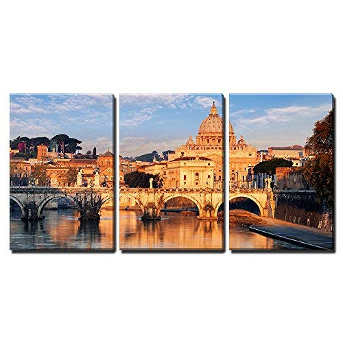 """wall26 - 3 Piece Canvas Wall Art - Vatican City, Rome - Modern Home Decor Stretched and Framed Ready to Hang - 24""""x36""""x3 Panels"""