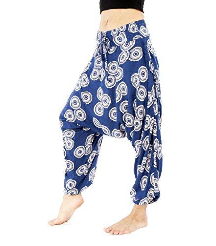 Buddha-Hose, Harem-Baumwolle, für Damen, Dropcrotch Sunshine-Muster, Größe XXS, Blau