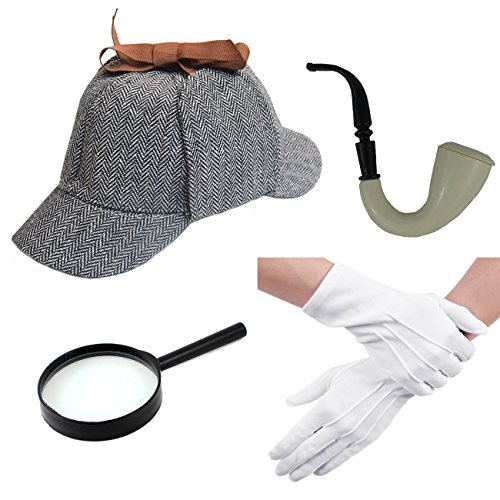 Adult Sherlock Holmes Costume Hat Glove with Magnifying Glass Gray
