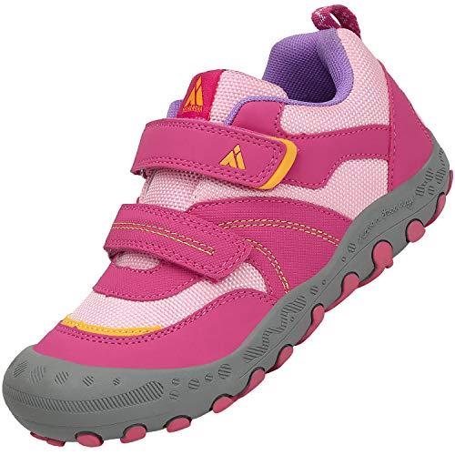 Mishansha Kinderschuhe Trekking Wanderschuhe rutschfest Hallenschuhe Mädchen Walking Schuhe Freizeit Turnschuhe Amaranth Rosa, Gr.32 EU