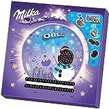 Milka Oreo Calendrier de l'avent avec biscuits au cacao fourrés à la crème et chocolat au lait des Alpes fourré 286 g