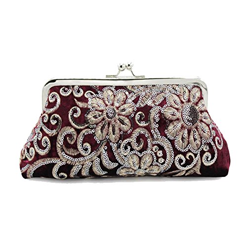 Kingluck The Evening Bags Women Clutch Bags embroidering Wedding Bridal Handbag Pearl Beaded Lace Rose Fashion Rhinestone Bags (red)