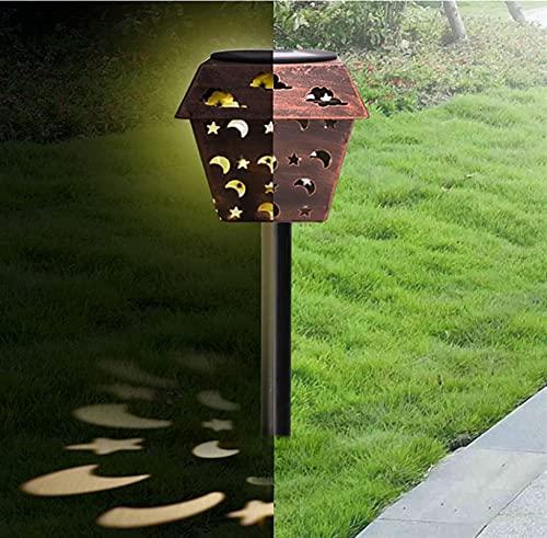 Tik LP Luces Solares para Jardín, Linterna Portátil Hueca De Hierro En Bruto, Lámpara LED Decoración Retro, Solar Metal con Mango Césped, Exterior (Size : A)