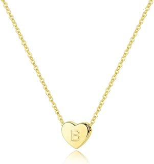 M MOOHAM Gold Heart Initial Necklaces for Women - Heart Pendant 14K Gold Filled Letter Initial Necklace Engraved Dainty Tiny Alphabet Initial Necklace for Women Girls Teens Kids Jewelry