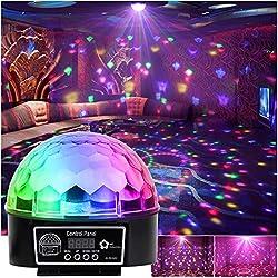 Discokugel LED Party Lichteffekte Musikgesteuert RGB 6 Farbe für Disco Clubs Party Bühnenbeleuchtung mit Fernbedienung Geburtstag Effekt Strahler Scheinwerfer