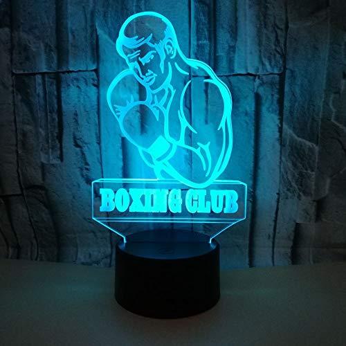 NIUBB 3D boxeo clubes noche luz lámpara 7 cambio de color LED táctil USB mesa regalo niños juguetes decoración Navidad San Valentín regalo cumpleaños