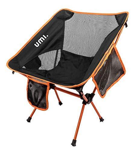 UMI Tragbarer Campingstuhl, kompakt, Ultraleicht, zusammenklappbar, mit Tragetasche für Wandern, Strand, Angeln, Outdoor-Aktivitäten, strapazierfähig, 250 kg