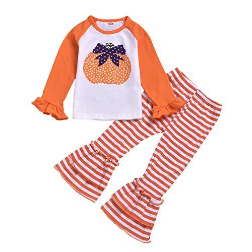 puseky Baby Kids Girls Pumpkin Long Sleeve Shirt Stripe Bell-Bottom Pants Halloween Outfits Set