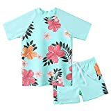 Girls Two Piece Swimsuit Floral UPF 50+ Rash Guard Set Kids Short Sleeve Swimwear S241_CyanFlower_10A