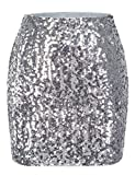 MANER Women's Sequin Skirt Sparkle Stretchy Bodycon Mini Skirts Night Out Party (XS/US 0-2, Silver Grey)
