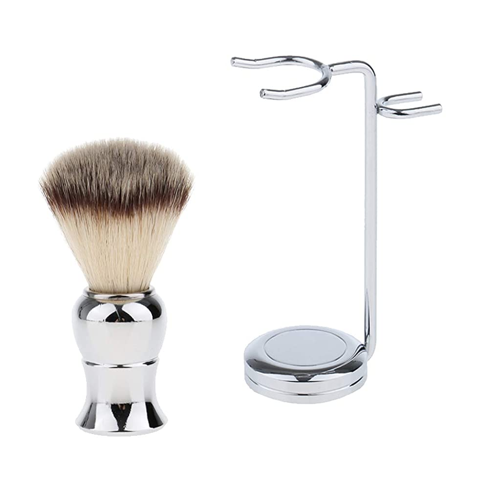 厳しい修理工クアッガCUTICATE シェービング用ブラシ ナイロン 合金ハンドル スタンド付 メンズ 理容 洗顔 髭剃り 泡立ち 銀