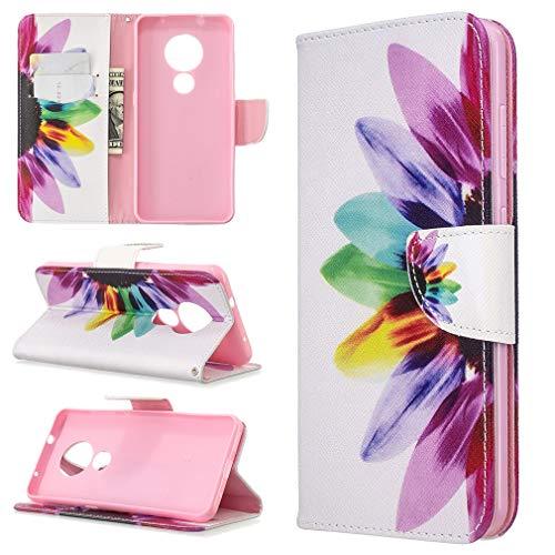 LMFULM® Hülle für Nokia 6.2 / Nokia 7.2 (6,3 Zoll) PU Leder Magnet Brieftasche Lederhülle Lebendige Sonnenblumen Muster Stent-Funktion Schutzhülle Ledertasche Flip Cover