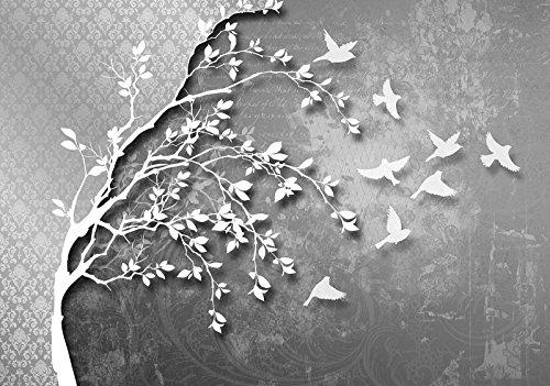 DekoShop Fototapete Vlies Tapete Moderne Wanddeko Wandtapete Silber Baum mit Vögeln AMD10231VEXXXXL VEXXXXL (416cm. x 290cm.) Abstraktion und Kunst