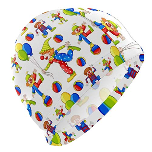 Tcerlcir Cuffia Nuoto Clown Cuffia Piscina Poliestere Donna e Uomo Ideale per Lunghi, Capelli Ricci, Dread, Afro
