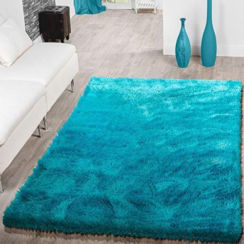 T&T Design Teppich Wohnzimmer Hochflor Teppiche Modern Elegant Weich Schimmer In Uni Türkis, Größe:60x100 cm