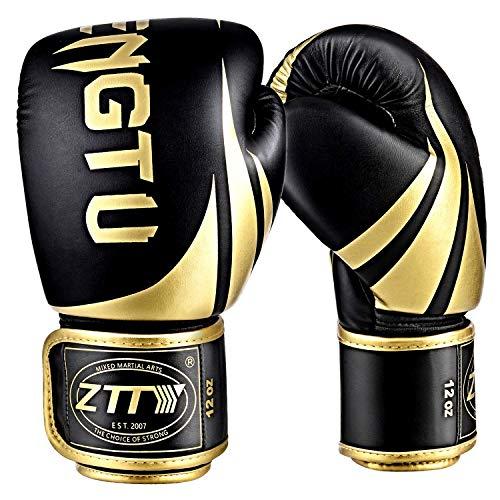 ZTTYボクシンググローブ PUレザー パンチンググローブ 通気性 キックボクシング トレーニンググローブ 格闘技グローブ サンドバッグ 空手 ミット 男女兼用 子供 (�K&金, 16oz)