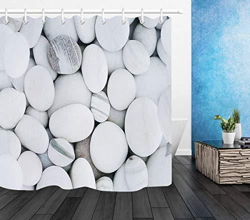HATESAH Duschvorhang 180x180 Wasserabweisend Shower Curtain,Steingraue weiße Flusssteine,mit 12 Duschvorhangringen