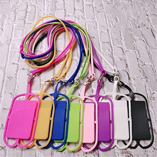 Fundas para teléfono móvil Funda protectora universal de silicona for teléfono móvil de 10 piezas con ranura for tarjeta y cordón Estuches para teléfonos celulares ( Color : Random Color on Delivery )