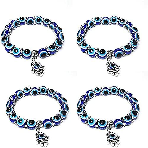 Evil Eye Pulsera De Cuentas Azules Mano Reiki Buena Suerte Meditación, Pulsera Elástica Con Cuentas Azules 7 Chakras Gemstone Lava Para Protección Y Bendición (4Azul)