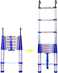 ZXCMNB Step Stool  Telescoping Ladder Aluminum Telescopic Expansion Straight Ladder Pinch-Free Locking Suitable For Daily Emergency Use Industrial Households  Size 385cm
