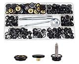 BetterJonny 180 tornillos de botón de presión, 60 juegos de clips de acero inoxidable, kit de 3 piezas de herramientas de ajuste en caja de almacenamiento para cubierta de barcos y muebles