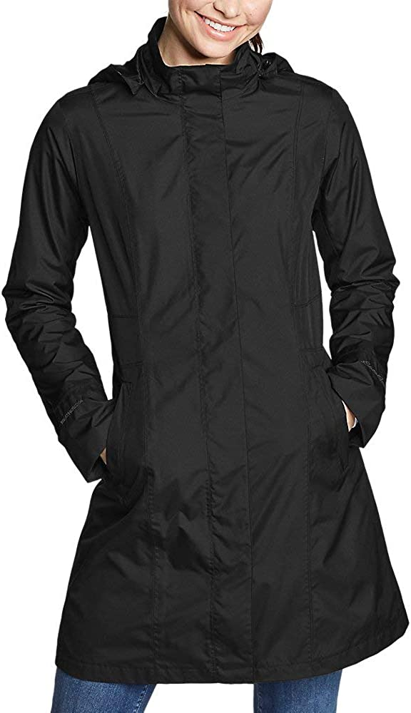 Eddie Bauer Womens Girl On The Go Insulated Trench Coat Dk Charcoal HTR Regula