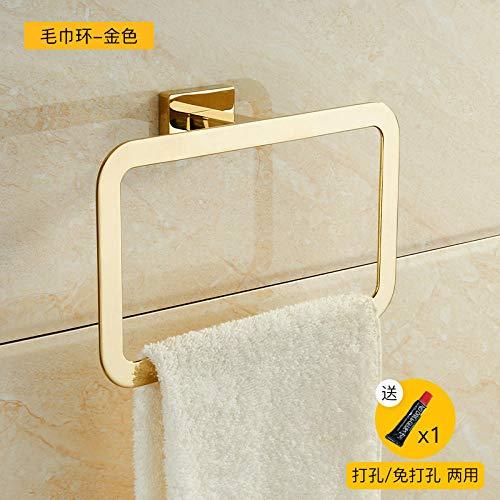 Anillo de toalla anillo dorado perforado baño baño barra de toalla nordic toallero-oro + doble uso sin perforaciones