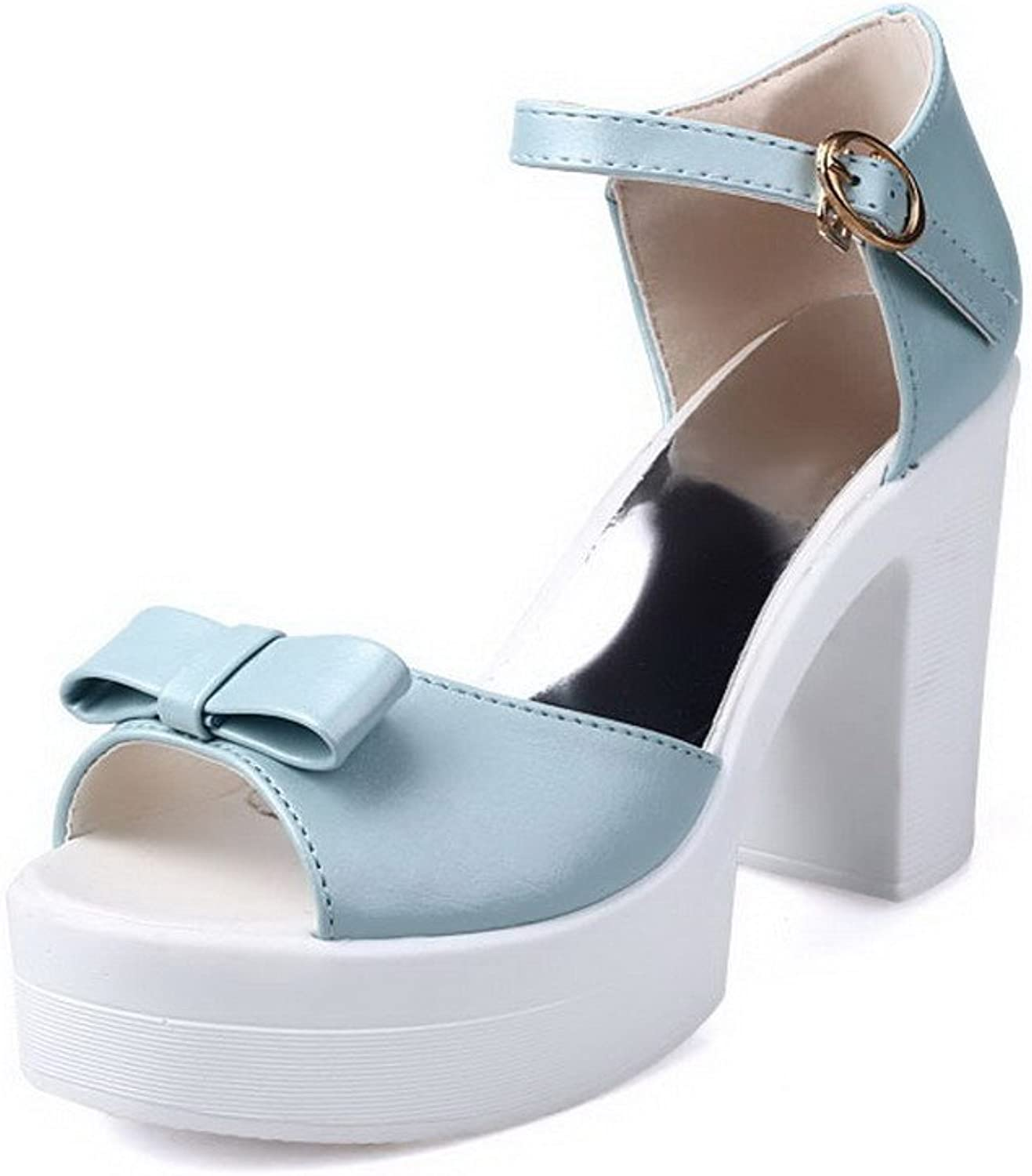 AmoonyFashion Women's Solid PU High-Heels Open Toe Buckle Platforms-Sandals
