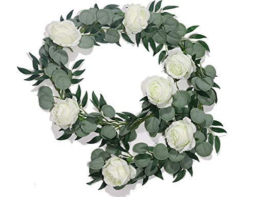 Boic Guirnalda de Flores Artificiales, Artificial Eucalipto y Hojas de Sauce con 7 Rosas Plantas Colgantes de Vid Imitación de Seda para Decoración de Interiores al Aire Libre Boda, Jardín, Fiesta