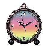 girlsight Art Retro Salón decorativo sin tictac, fácil de leer, cuarzo, mesita de noche analógica, reloj despertador con esfera de reloj floral, papel de acuarela, colores arcoíris