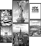 Calias® Lot de 6 posters New York noir et blanc - Pour décoration de salon ou de chambre à coucher - Décoration murale élégante - Sans cadre - 2 x DIN A3 et 4 x DIN A4