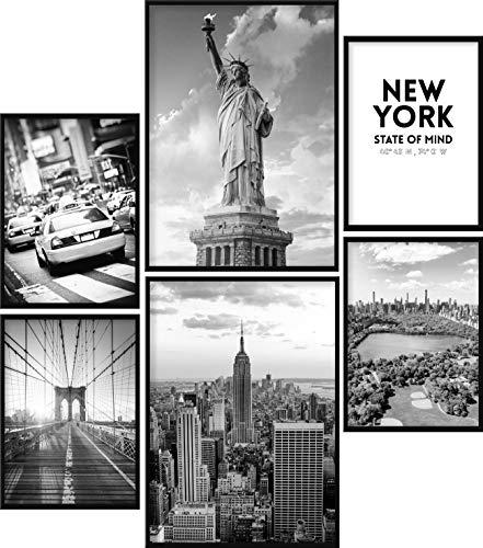 Calias® Premium Poster Set New York Schwarz Weiß | Bilder Set für Wohnzimmer Deko oder Schlafzimmer Deko | Stilvolle Wanddeko | 6er Set ohne Rahmen | 2X DIN A3 und 4X DIN A4