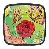 Pomos de cocina con diseño de flores rojas y rosadas que se besan de 3,8 cm para gabinete de cocina, tirador de cajón de cristal, 4 unidades